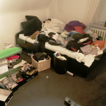 Mein Schlafzimmer eine Nacht vor meinem Auszug