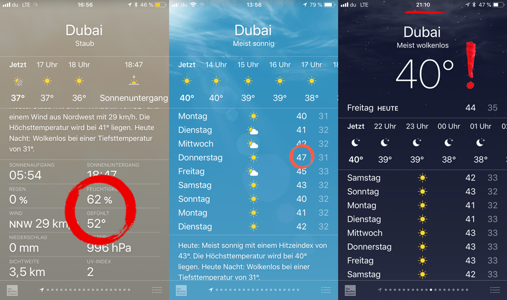 Temperaturen Dubai